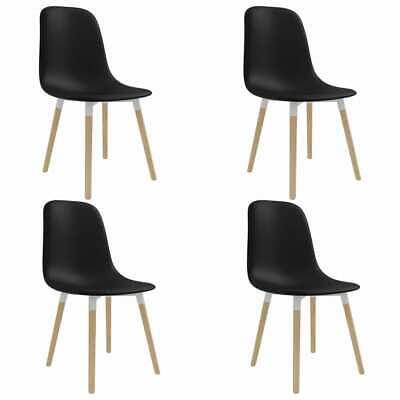 vidaXL 4x Dining Chairs Black Plastic Seat Dining Room