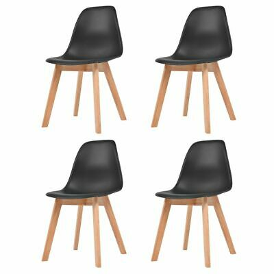 vidaXL 4x Dining Chairs Black Solid Wood Leg Plastic Seat
