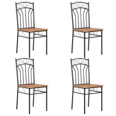vidaXL 4x Dining Chairs Brown MDF Side End Kitchen Furniture