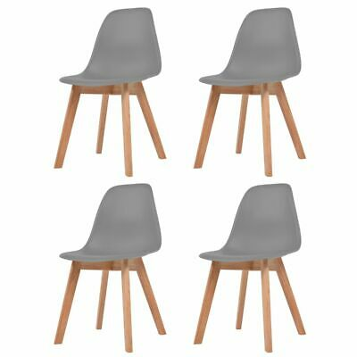 vidaXL 4x Dining Chairs Grey Solid Wood Leg Plastic Seat