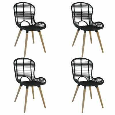vidaXL 4x Dining Chairs Natural Rattan Black Outdoor Garden