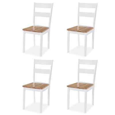 vidaXL 4x Dining Chairs Rubberwood White Living Room Kitchen