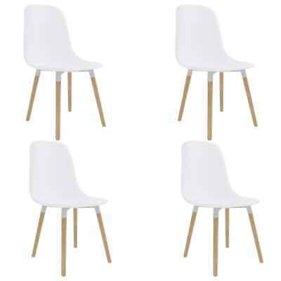 vidaXL 4x Dining Chairs White Plastic Seat Dining Room