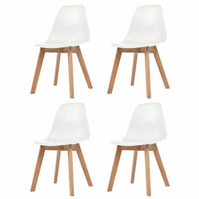 vidaXL 4x Dining Chairs White Solid Wood Leg Plastic Seat