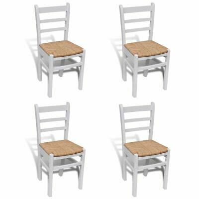 vidaXL 4x Dining Chairs Wood White Home Kitchen Living Room
