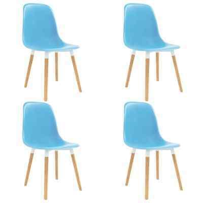 vidaXL 4x Dining Chairs Wooden Legs Plastic Blue Kitchen