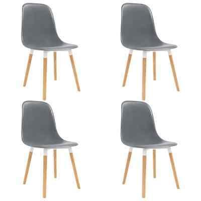vidaXL 4x Dining Chairs Wooden Legs Plastic Grey Dinner