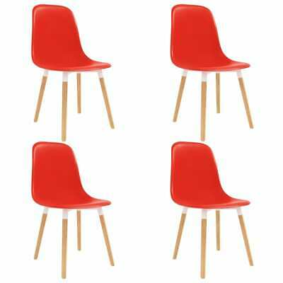 vidaXL 4x Dining Chairs Wooden Legs Plastic Red Kitchen