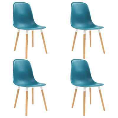vidaXL 4x Dining Chairs Wooden Legs Plastic Turquoise