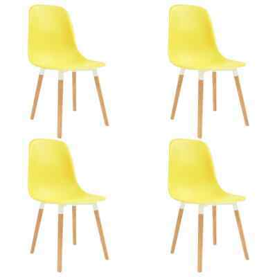 vidaXL 4x Dining Chairs Wooden Legs Plastic Yellow Kitchen