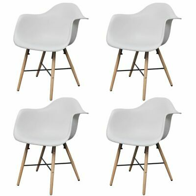 vidaXL 4x Dining Chairs with Beechwood Legs White Kitchen