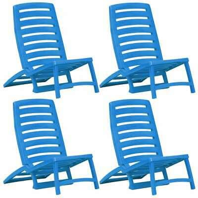 vidaXL 4x Folding Beach Chair Plastic Blue Outdoor Camping