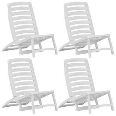 vidaXL 4x Folding Beach Chair Plastic White Outdoor Camping