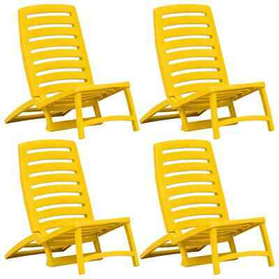vidaXL 4x Folding Beach Chairs Plastic Yellow Outdoor Garden