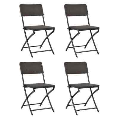 vidaXL 4x Folding Garden Chairs HDPE Brown Rattan Look