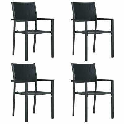 vidaXL 4x Garden Chairs Black Plastic Rattan Look Outdoor