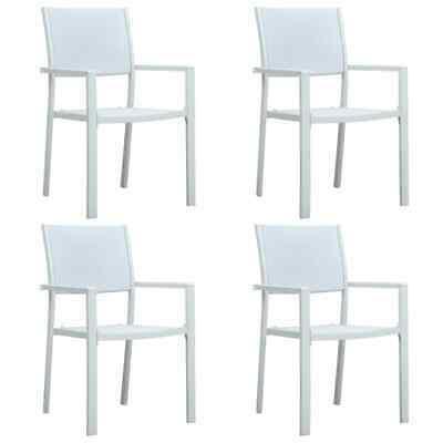 vidaXL 4x Garden Chairs White Plastic Rattan Look Outdoor