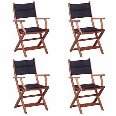 vidaXL 4x Outdoor Chair Black Solid Eucalyptus Wood and