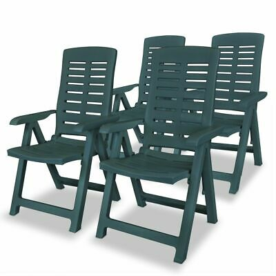 vidaXL 4x Reclining Garden Chairs 60x61x108cm Plastic Green