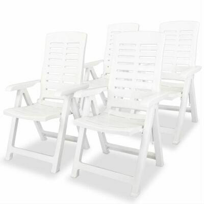 vidaXL 4x Reclining Garden Chairs 60x61x108cm Plastic White