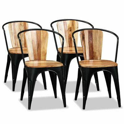 vidaXL 4x Solid Acacia Wood Dining Chairs Home Kitchen