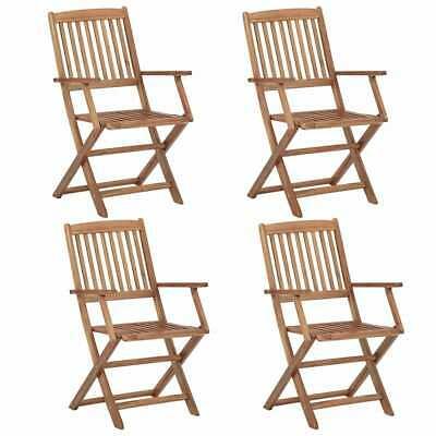 vidaXL 4x Solid Acacia Wood Folding Outdoor Chairs Garden