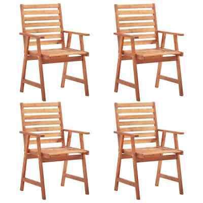 vidaXL 4x Solid Acacia Wood Outdoor Dining Chairs Garden