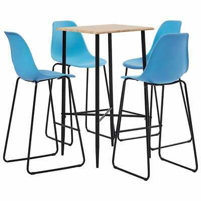 vidaXL 5 Piece Bar Set Plastic Blue Pub Bistro Dining