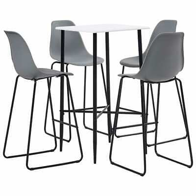 vidaXL 5 Piece Bar Set Plastic Grey Pub Bistro Dining