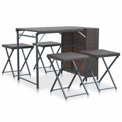 vidaXL 5 Piece Folding Outdoor Dining Set Poly Rattan Brown#