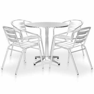 vidaXL 5 Piece Outdoor Dining Set Aluminium Silver Patio