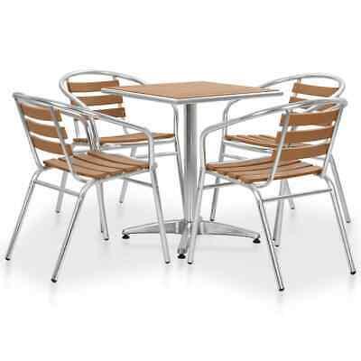 vidaXL 5 Piece Outdoor Dining Set Aluminium and WPC Silver