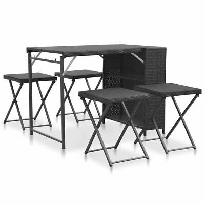 vidaXL 5 Piece Outdoor Folding Dining Set Poly Rattan Black