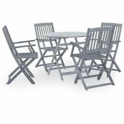 vidaXL 5 Piece Solid Acacia Wood Garden Dining Set Grey