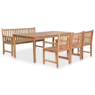 vidaXL 5 Piece Solid Teak Wood Outdoor Dining Set Garden