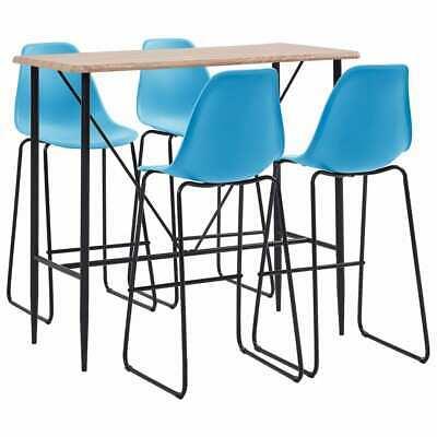 vidaXL 5 Pieces Bar Set Plastic Blue Pub Bistro Tables and