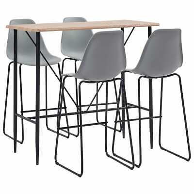 vidaXL 5 Pieces Bar Set Plastic Grey Pub Bistro Tables and