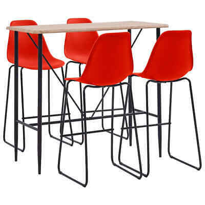 vidaXL 5 Pieces Bar Set Plastic Red Pub Bistro Tables and