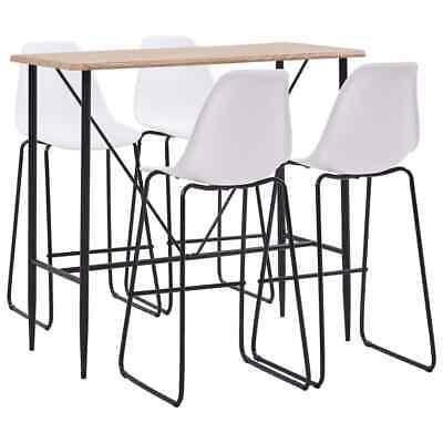 vidaXL 5 Pieces Bar Set Plastic White Pub Bistro Tables and