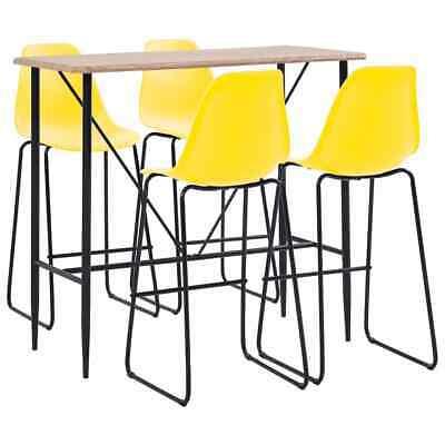 vidaXL 5 Pieces Bar Set Plastic Yellow Pub Bistro Tables and