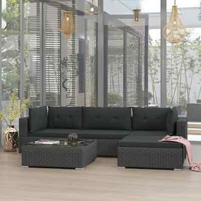 vidaXL 5x Garden Lounge Set with Cushions Poly Rattan Black