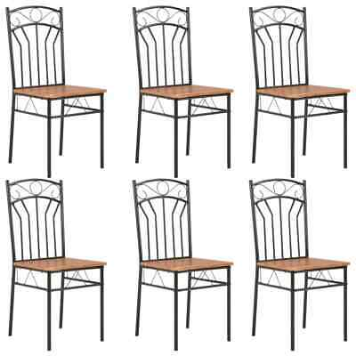 vidaXL 6x Dining Chairs Brown MDF Side End Kitchen Furniture