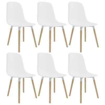 vidaXL 6x Dining Chairs White Plastic Seat Dining Room