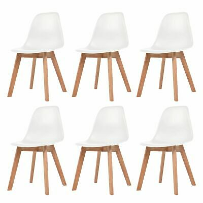 vidaXL 6x Dining Chairs White Solid Wood Leg Plastic Seat