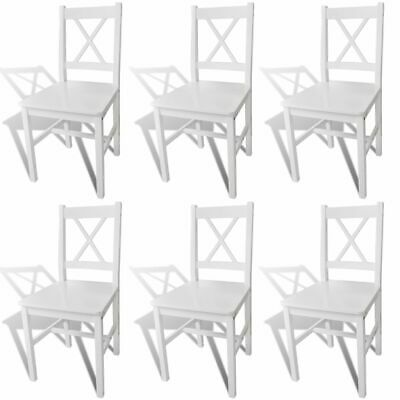 vidaXL 6x Dining Chairs Wood White Home Kitchen Living Room