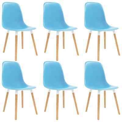 vidaXL 6x Dining Chairs Wooden Legs Plastic Blue Kitchen
