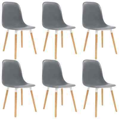 vidaXL 6x Dining Chairs Wooden Legs Plastic Grey Dinner