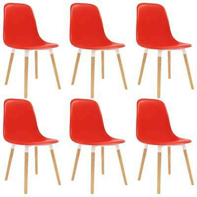 vidaXL 6x Dining Chairs Wooden Legs Plastic Red Kitchen