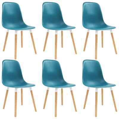 vidaXL 6x Dining Chairs Wooden Legs Plastic Turquoise