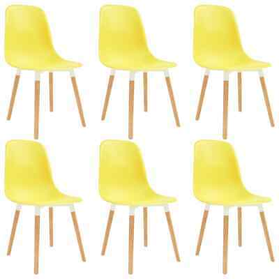 vidaXL 6x Dining Chairs Wooden Legs Plastic Yellow Kitchen